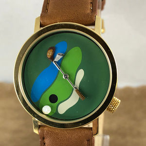 Vintage Akteo Golf Watch Gold Tone Brown Strap